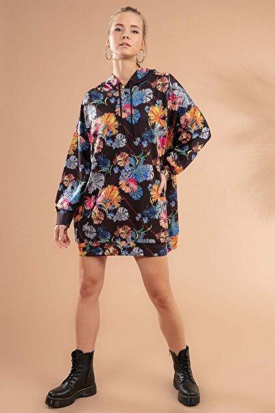 Y-London Kadın Siyah Ebruli Baskılı Kapşonlu Sweatshirt Elbise P20W-4125-1