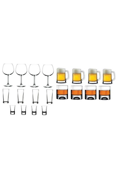 KARATEKİN ZÜCCACİYE 4 Kişilik 20 Parça Mega Set Şarap Rakı Shot Bira Viski Bardağı