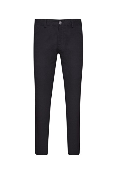 SÜVARİ Slim Fit Gabardin Siyah Erkek Pantolon