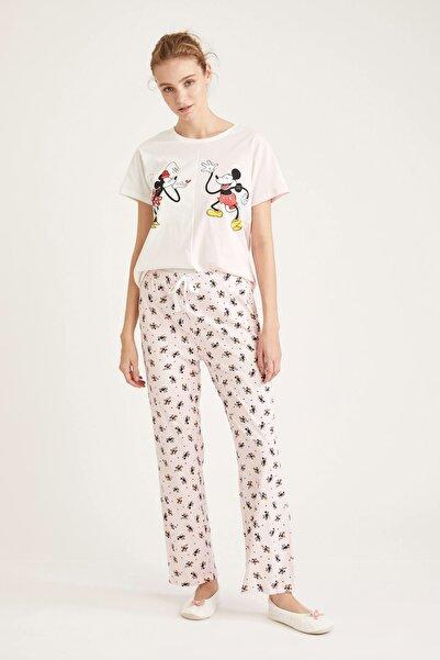 DeFacto Fit Kadın Pembe Mickey Mouse Lisanslı Pijama Takımı