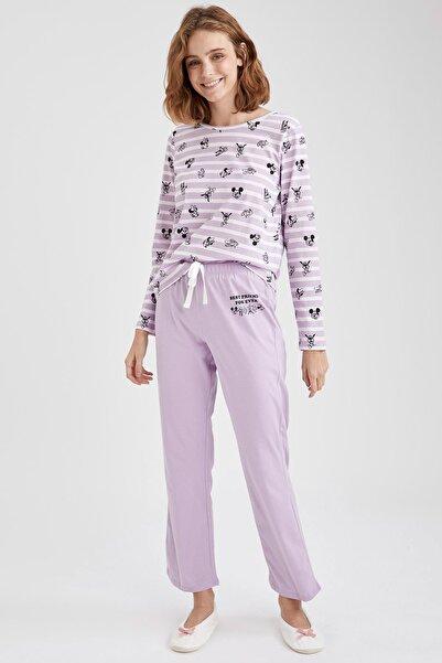 DeFacto Kadın Mor Mickey Mouse Lisanslı Pijama Takımı
