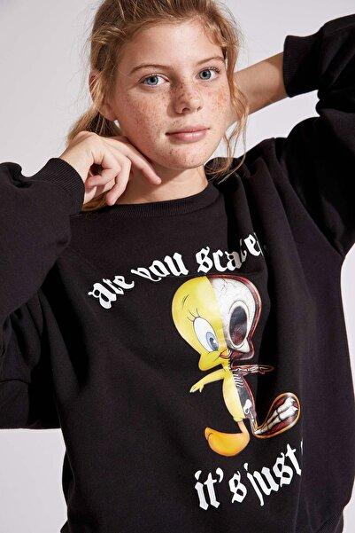 DeFacto Looney Tunes Lisanslı Regular Fit Uzun Kollu Sweatshirt