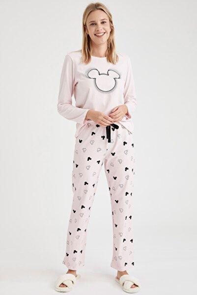 DeFacto Fit Kadın Pembe Mickey Mouse Baskılı Uzun Kollu Pijama Takımı