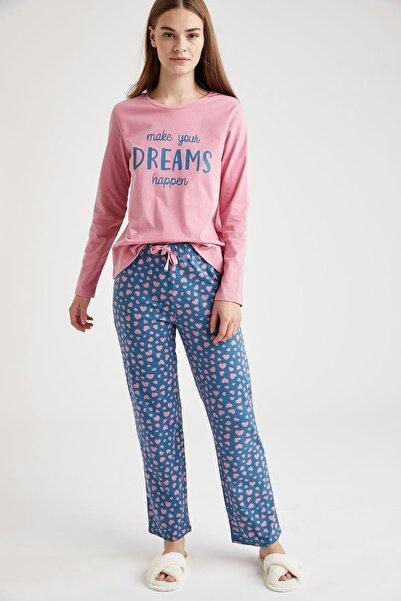 DeFacto Fit Kadın Mavi Yazı Baskılı Uzun Kollu Pijama Takımı