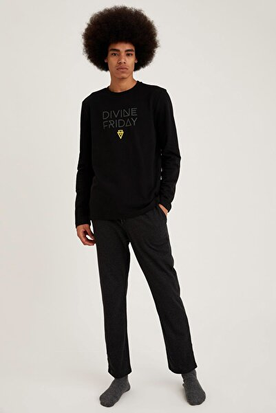 DeFacto Fit Erkek Black Red Baskılı Regular Fit Pijama Takım S9460AZ20WN