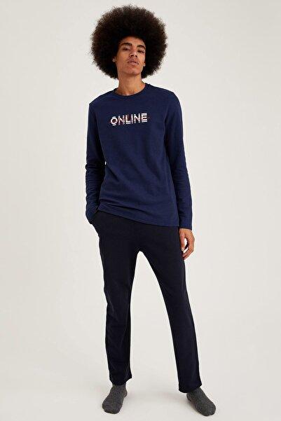 DeFacto Fit Erkek Navy Online Baskılı Regular Fit Pijama Takım S9464AZ20WN