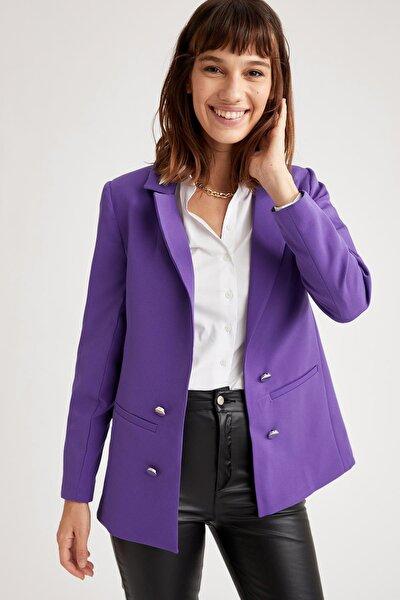 DeFacto Düğme Detaylı Relax Fit Blazer Ceket