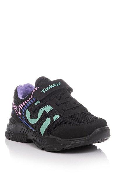 Baybaco Siyah Mor Çocuk Spor Ayakkabı (26-35)