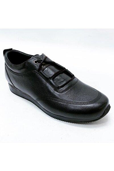 stok83 Erkek Siyah Hakiki Deri Spor Ayakkabı