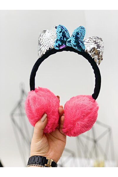 Luckylovelykids Kız Çocuk Pullu Minnie Nar Çiçeği Kulak Koruyucu Kulaklık Taç