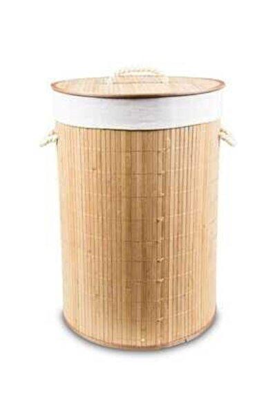 Naturalove Katlanır Bambu Yuvarlak Çamaşır Sepeti
