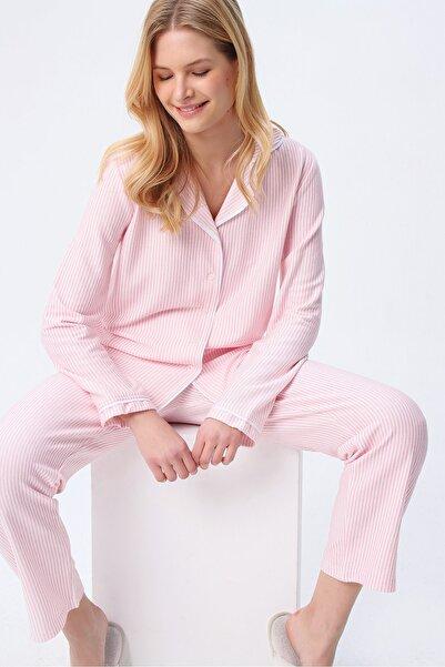 Trend Alaçatı Stili Kadın Pembe Gömlek Yaka Çizgili Pijama Takım ALC-X5428