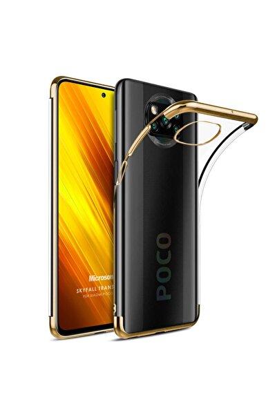 Microsonic Xiaomi Poco X3 Nfc Kılıf Skyfall Transparent Clear Gold
