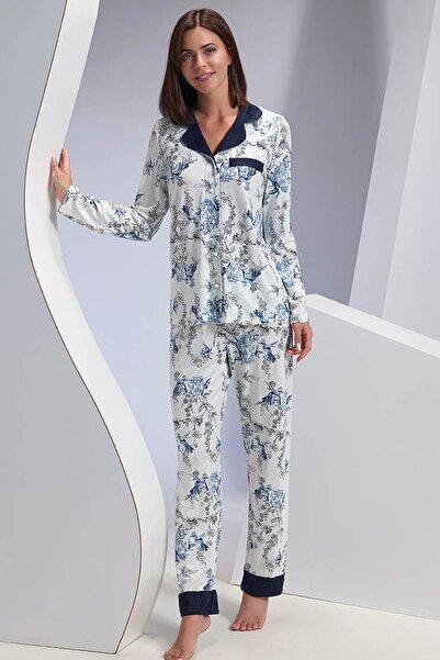 Sevim Kadın Beyaz Düğmeli Pijama Takım