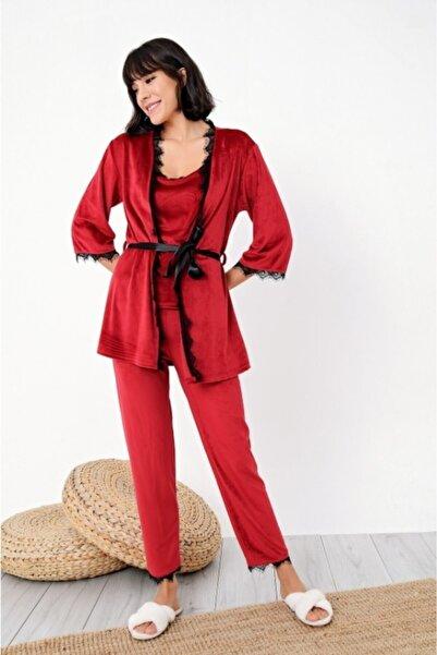 BIES Mihra Kırmızı Ip Askılı Dantelli Sabahlıklı Fransız Kadife 3'lü Pijama Takımı