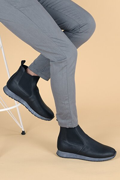 Ayakland Erkek Siyah Cilt Termo Taban Spor Bot Ayakkabı