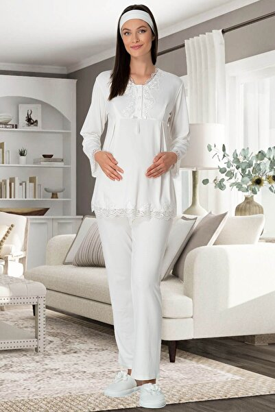 Mecit Pijama Pamuklu Ekru Lohusa Pjama Takımı