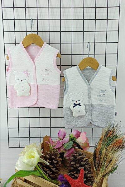 Gaye Bebe Kız Bebek Pembe Gri Kedi Kabartma Desenli Kapitone Nakışlı 2'li Yelek