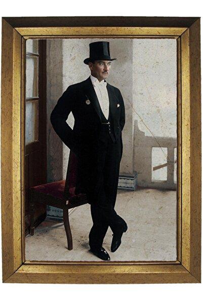 L&Gift Mustafa Kemal Atatürk Çerçeveli 20 * 30 cm Mermer Baskılı Resim