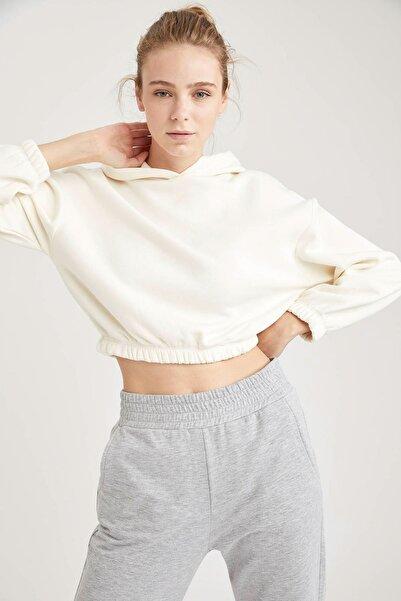 DeFacto Kadın Kapüşonlu Beli Lastikli Relax Fit Crop Sweatshirt