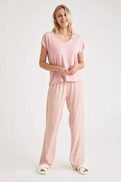 DeFacto Fit Kadın Pembe Basic Kruvaze Yaka Pijama Takımı