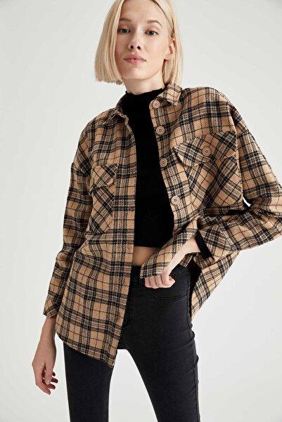 DeFacto Oduncu Retro Ekoseli Oversize Tunik Ceket