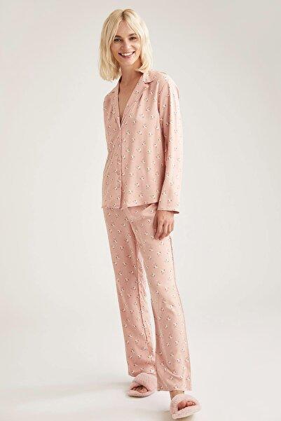 DeFacto Fit Kadın Rose Pembe Egzotik Çiçek Baskılı Gömlek Tasarımlı Pijama Takımı