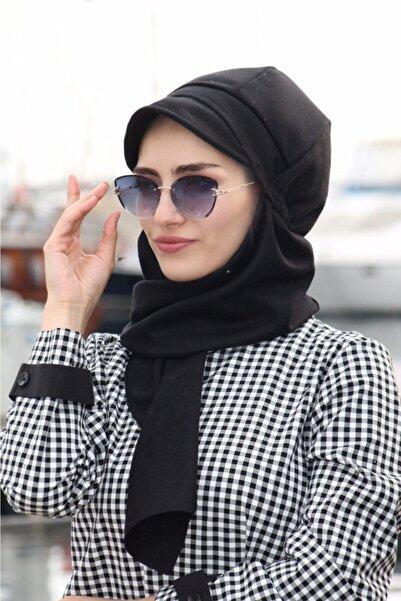Sahra Şal Dünyası Kadın Siyah Kaşe Atkılı Şapka Bone