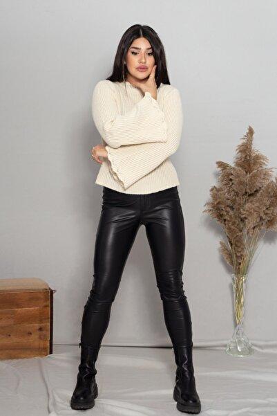 Robin Kadın Krem Ispanyol Kollu Triko Kazak