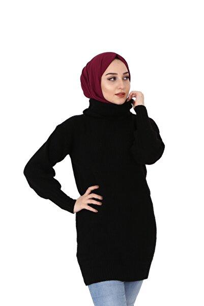 ABDULLAH ATIF TEKSTİL Kadın Siyah Boğazlı Tirko Kazak 1504202011
