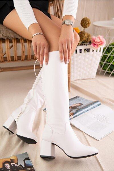 Limoya Kadın Beyaz Alçak Topuklu Arkası Bağcıklı Yandan Fermuarlı Binici Çizme
