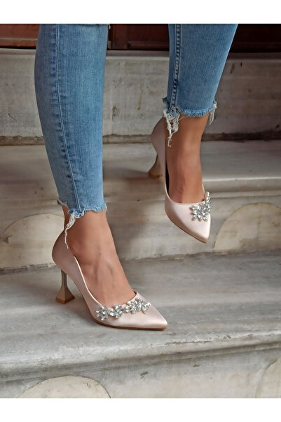 DS AYAKKABI Kadın Ten Saten Yaprak Taş Topuklu Ayakkabı 9 cm