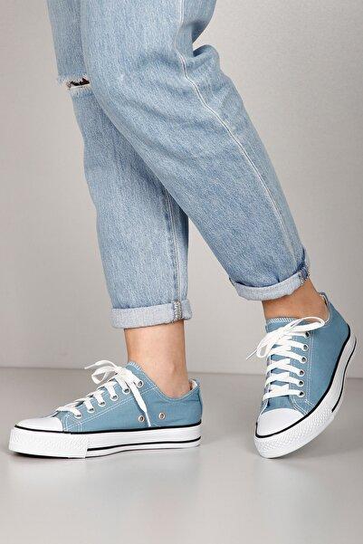 GÖN Mavi Keten Kadın Günlük Spor Keten Düz Taban Sneaker 35222