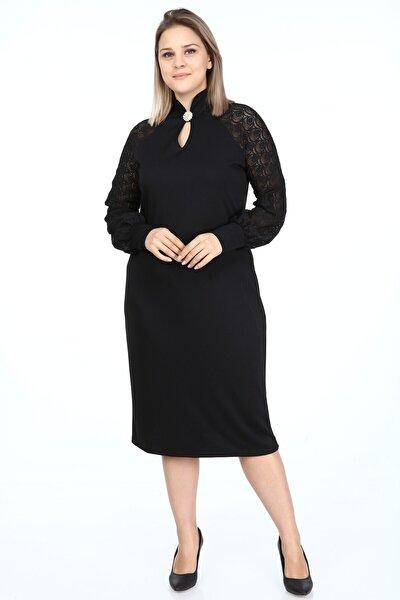 Garip tekstil Büyük Beden Siyah Kadın Elbise Broşlu