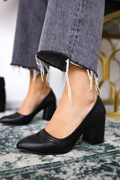 Limoya Aileen Bej Deri Kalın Topuklu Ayakkabı