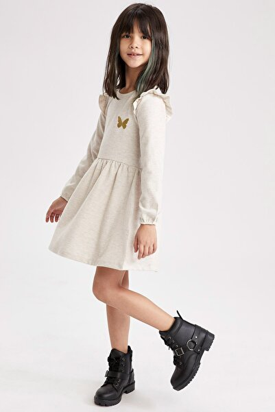 DeFacto Kız Çocuk Nakışlı Kol Fırfır Detaylı Elbise