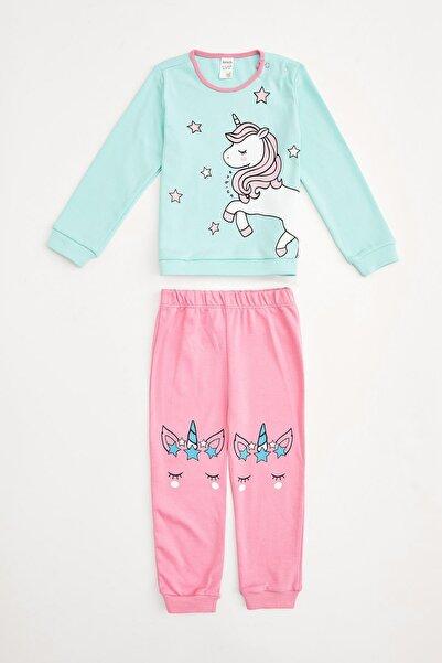 DeFacto Kız Çocuk Mint Unicorn Baskılı Pijama Takım