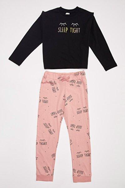 DeFacto Fit Kız Çocuk Baskılı Uzun Kollu Pijama Takımı
