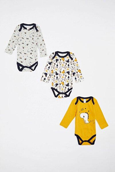 DeFacto Erkek Bebek Sarı Baskılı Uzun Kol Çıtçıtlı Body