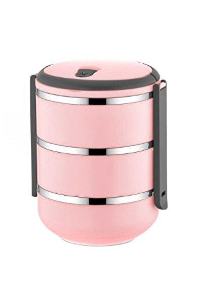 FreshBox 3 Katlı Sızdırmaz Yemek Termosu Sefer Tası Saklama Kabı Pudra Pembe 2,25 Litre