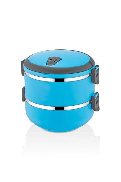 FreshBox 2 Katlı Sızdırmaz Yemek Termosu Sefer Tası Saklama Kabı Mavi 1,50 Litre