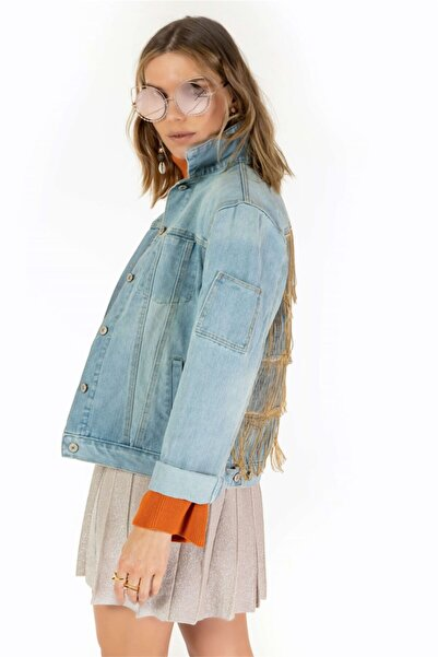 VorNişantaşı Kadın Mavi Tasarım Sırtı Zincirli Denim Ceket