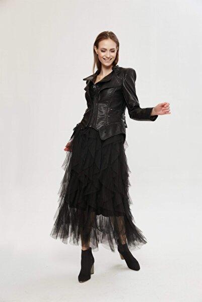 VorNişantaşı Kadın Siyah Tasarım Vintage Gothıc Pu Jacket