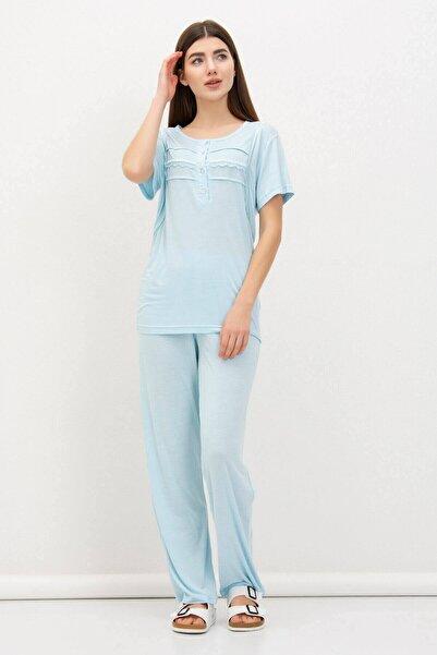 Mossta Kadın Mavi Yaka Düğmeli Dantel Detaylı Pijama Takımı