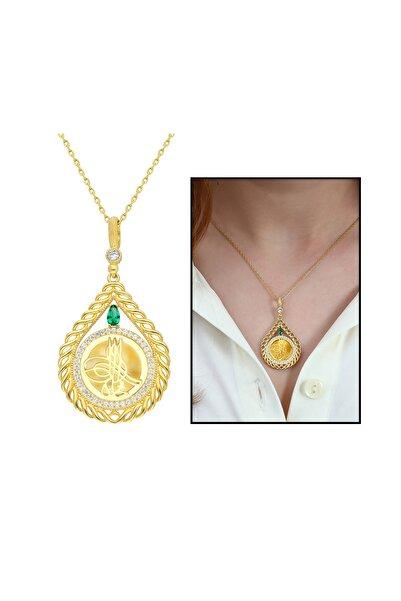 Tesbihane Kadın Zirkon Taşlı Gold Renk Tuğralı Damla Tasarım 925 Ayar Gümüş  Kolye