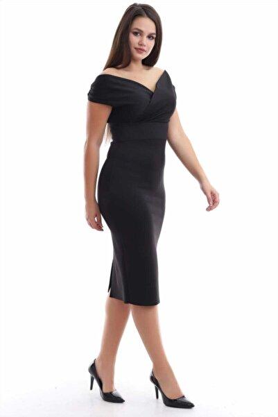 Moda MiraGül Kadın Siyah Kayık Yaka Balık Elbise