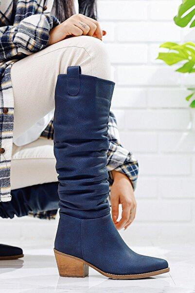 Limoya Kadın Lacivert Körüklü Kovboy Stili Çekme Çizme