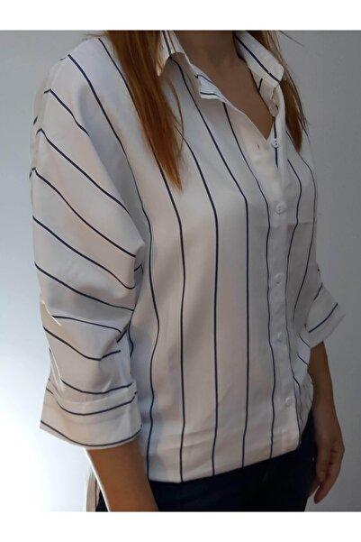 Mixray Kadın Beyaz Çizgi Desen Gömlek