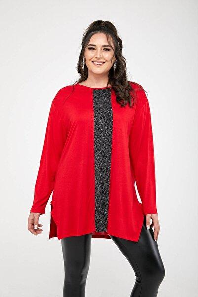 Siyezen Kadın Kırmızı Önü Simli Penye Büyük Beden Bluz