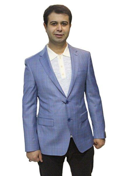 Uptown Erkek Çift Düğme Çift Yırtmaç Yünsa Kumaş Mavi Ceket